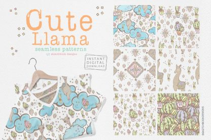 Cute Llama Seamless Patterns