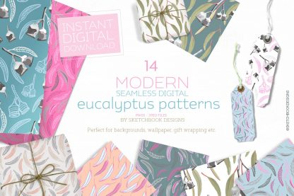 Modern Eucalyptus Digital Seamless Pattern Set