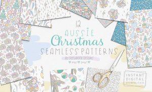 Aussie Christmas Seamless Patterns