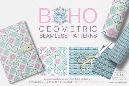 Boho Geometric Digital Patterns by Jo Story of Sketchbook Designs