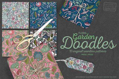 Floral Digital Garden Doodle Pattern Set