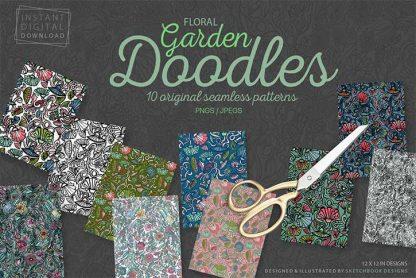 Floral Garden Doodle Pattern Set