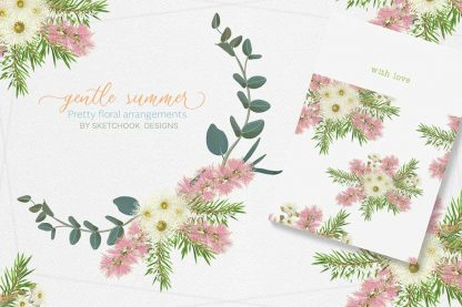 Gentle summer Australian wildflower clipart collection