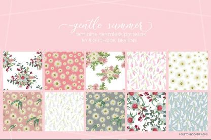Gentle summer Australian wildflower pattern display