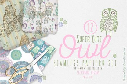 Owl Digital Seamless Pattern Set