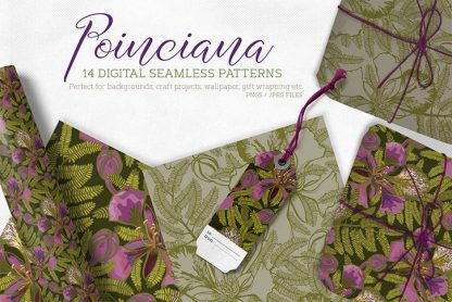 Poinciana Digital Seamless Pattern Set