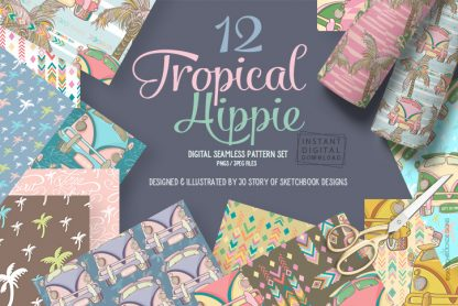 12 Tropical Hippie Seamless Patterns