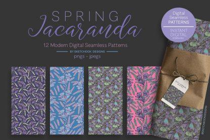 Spring Jacaranda Flowers Pattern