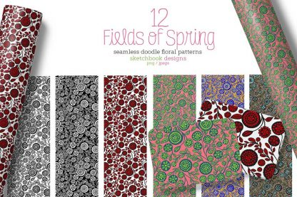 12 hand-drawn Fields of Spring seamless doodle floral pattern set