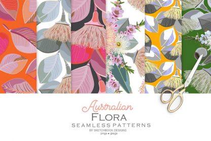 Australian Flora Seamless Pattern Set